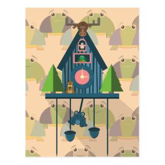 Carte Postale Horloge de coucou avec le papier peint de tortue