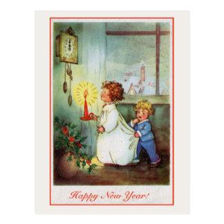 Carte Postale Horloge vintage d'enfants de bonne année