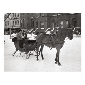 Carte Postale Horse et Sleigh, 1935