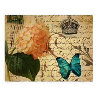 Carte Postale hortensia botanique français de papillon d'art de