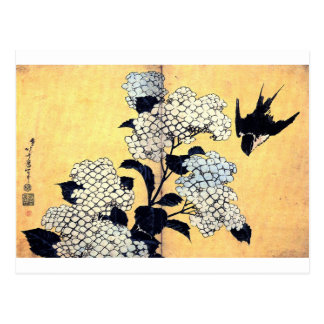 Carte Postale Hortensia et hirondelle par Katsushika Hokusai
