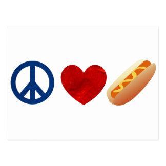 Carte Postale Hot dog d'amour de paix