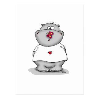 Carte Postale Howie le petit hippopotame - hippopotame