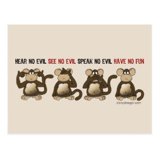 Carte Postale Humeur sage de singes