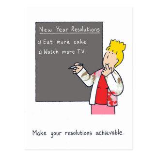 Carte Postale Humour de résolutions de nouvelle année