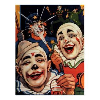 Carte Postale Humour vintage, clowns de cirque riants et police