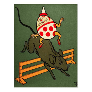 Carte Postale Humpty Dumpty : Humpty monte une souris
