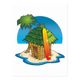 Carte Postale Hutte de Tiki de bande dessinée avec la planche de