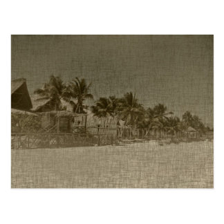 Carte Postale Huttes tropicales vintages de plage