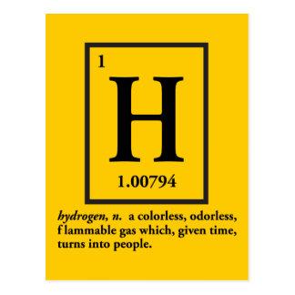 Carte Postale hydrogène - un gaz qui se transforme en personnes