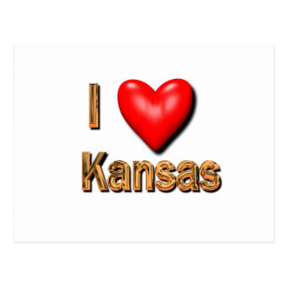 Carte Postale I coeur le Kansas