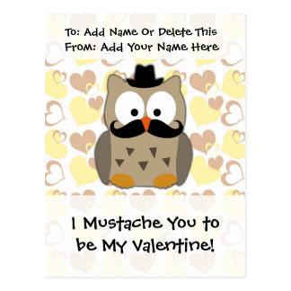 Carte Postale I moustache vous à être mon Valentine