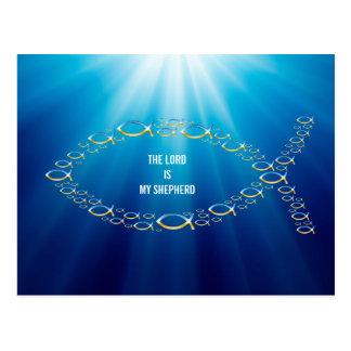Carte Postale Ichthus - symbole chrétien de poissons - petits
