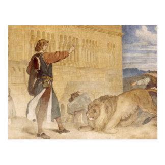 Carte Postale Il a traité les lions comme s'il plaisantait