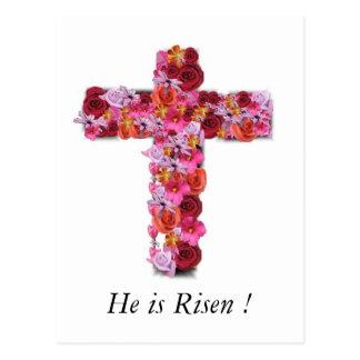 Carte Postale Il est croix florale de salutation chrétienne