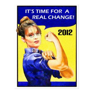 Carte Postale Il est temps pour un changement - Sarah Palin
