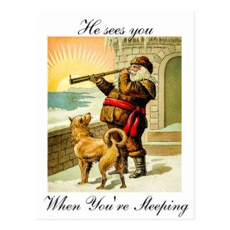 Carte Postale Il vous voit quand vous êtes sommeil Père Noël