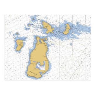Carte Postale Île de castor, diagramme nautique de MI