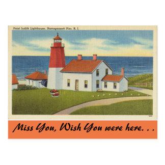 Carte Postale Île de Rhode, phare de Judith de point