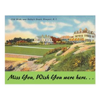Carte Postale Île de Rhode, promenade de falaise, Newport