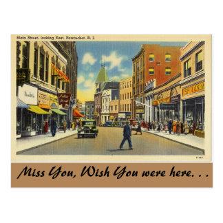 Carte Postale Île de Rhode, rue principale, Pawtucket