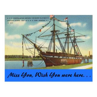 Carte Postale Île de Rhode, U.S.S. Constellation, Newport