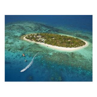 Carte Postale Île-hôtel de trésor et bateau, Fidji