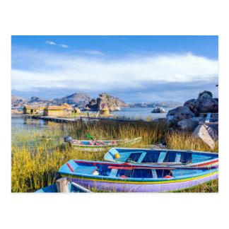 Carte postale, Îles Flottantes, Lac Titicaca