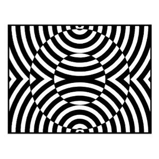 Carte Postale Illusion géométrique noire et blanche 002