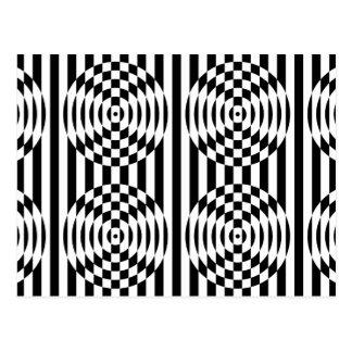 Carte Postale Illusion géométrique noire et blanche 003
