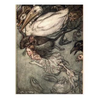 Carte Postale Illustration Alice d'Arthur Rackham au pays des