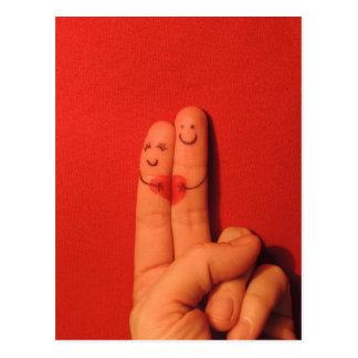 Carte Postale Illustration artistique romane d'amour de doigts