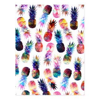 Carte Postale illustration d'ananas d'aquarelle et de nébuleuse