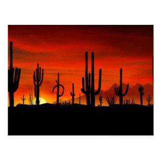 Carte Postale Illustration d'arbre de cactus quand le coucher du