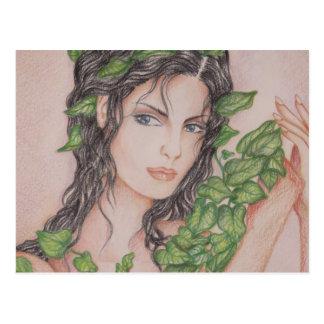 Carte Postale Illustration d'art de crayon de portrait de fille