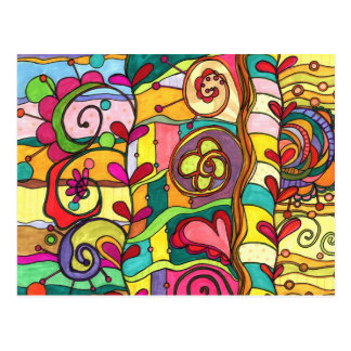 """Carte Postale Illustration de """"amour et de couleur"""" par Paisley"""