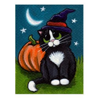 Carte Postale Illustration de chat et de citrouille de sorcière
