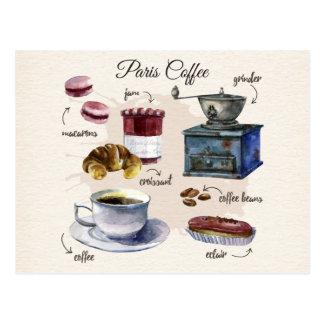 Carte Postale Illustration de festins de café et de pâtisserie