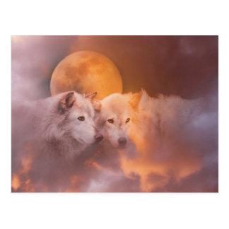 Carte Postale Illustration de loups de loup