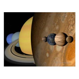 Carte Postale Illustration de neuf planètes dans le système