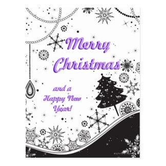 Carte Postale Illustration de Noël de flocon de neige