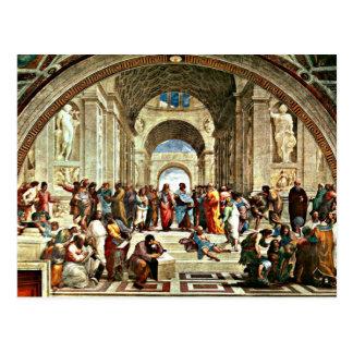 """Carte Postale Illustration de Raphael """"école d'Athènes"""""""