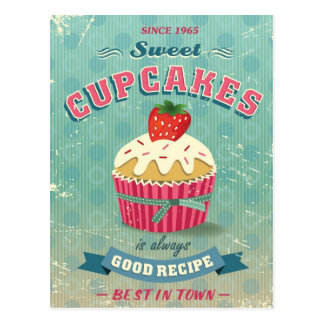 Carte Postale Illustration de signe vintage de petits gâteaux