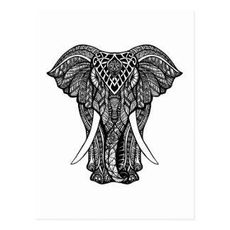 Carte Postale Illustration décorative d'éléphant de Zendoodle
