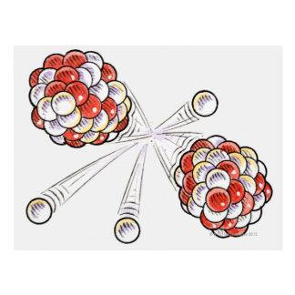 Carte Postale Illustration des atomes et des neutrons de fente