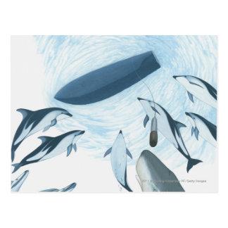 Carte Postale Illustration des dauphins regardant un bateau