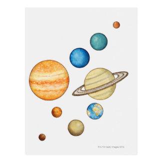 Carte Postale Illustration des planètes du système solaire