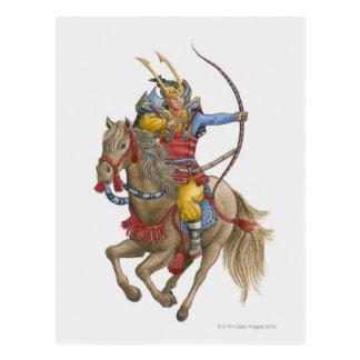 Carte Postale Illustration des samouraïs tenant à cheval l'arc