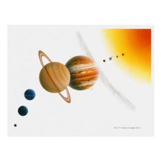 Carte Postale Illustration du Sun, Mercury, lune de Vénus