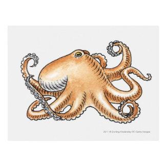 Carte Postale Illustration d'un poulpe